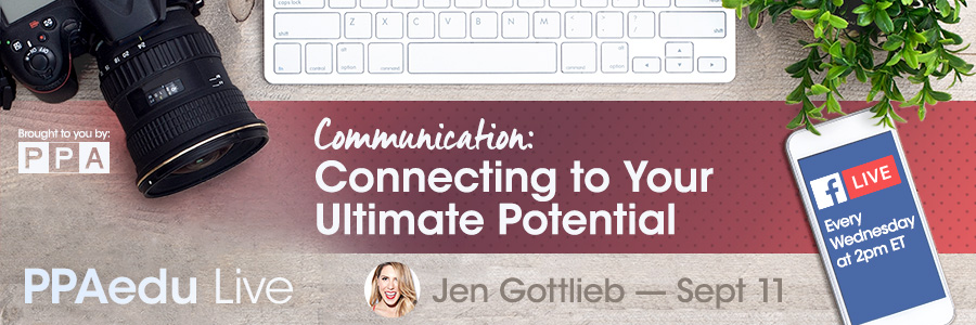 Jen Gottlieb teaches photographers How to Connect to Your Ultimate Potential for professional photographers of america on facebook live 2019