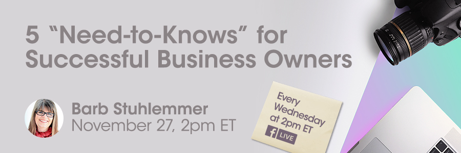 Barb Stuhlemmer 5 Things Every Business Owner Needs to Know to Run a Successful Business for professional photographers of america on facebook live 2019