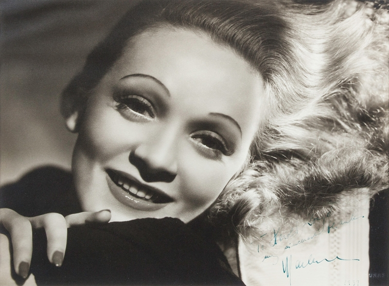 Photograph by George Hurrell of actor Marlene Dietrich signed: