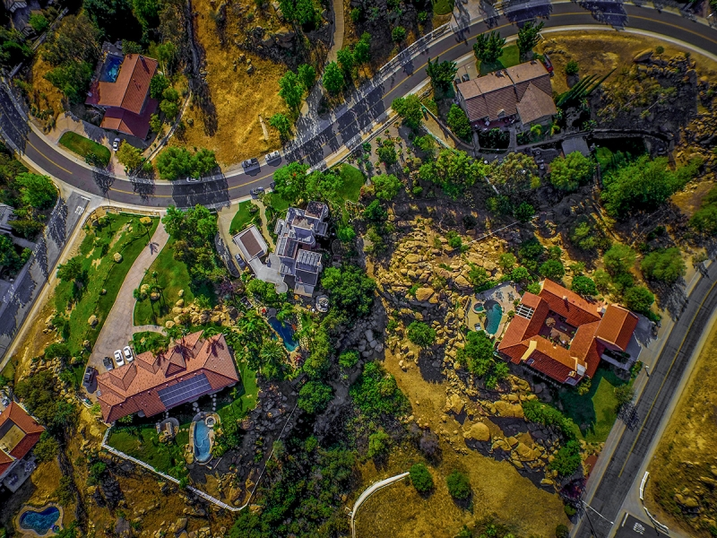 From 400 feet, a view of a neighborhood in Bell Canyon, California.