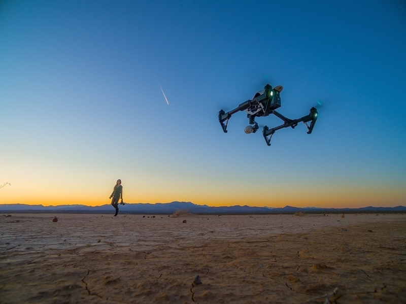 The drone is at zero altitude prior to takeoff in a dry lake bed near Las Vegas.