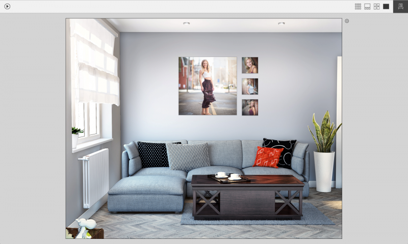 We can project how an image will look at a particular size using a client's photo of their home space. This helps them choose the best size for their wall art.