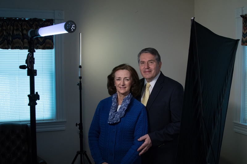This setup uses the Polaroid BrightSaber Pro as the main light, a silver metallic fabric reflector for fill, and the Travel BrightSaber to illuminate the background.