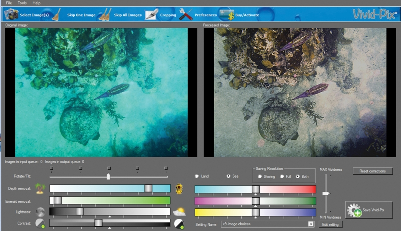 Land and Sea automatically removes the aqua color cast typical of amateur underwater photography. It also works for topside photography, correcting for haze and exposure problems, and improving colors.