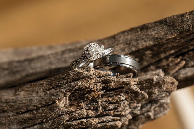 5) I often rake a low-powered and gridded speedlight or a video light across wedding rings to create more dimension and depth around the stone.