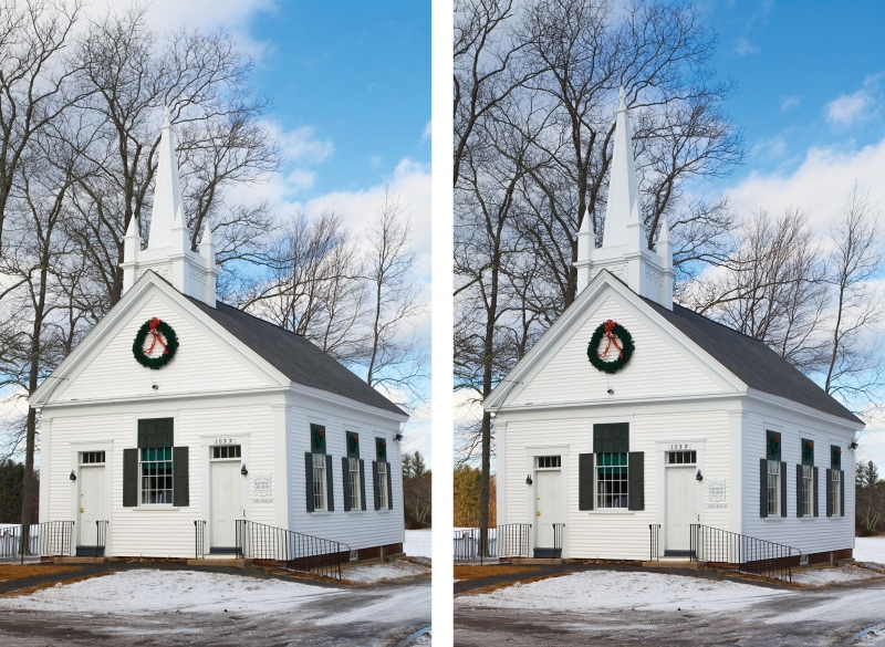 An uncorrected shot (above left) shows the typical architectural lines angling toward each other. On the right you can see the parallel lines achieved using the shift function of a tilt-shift lens.