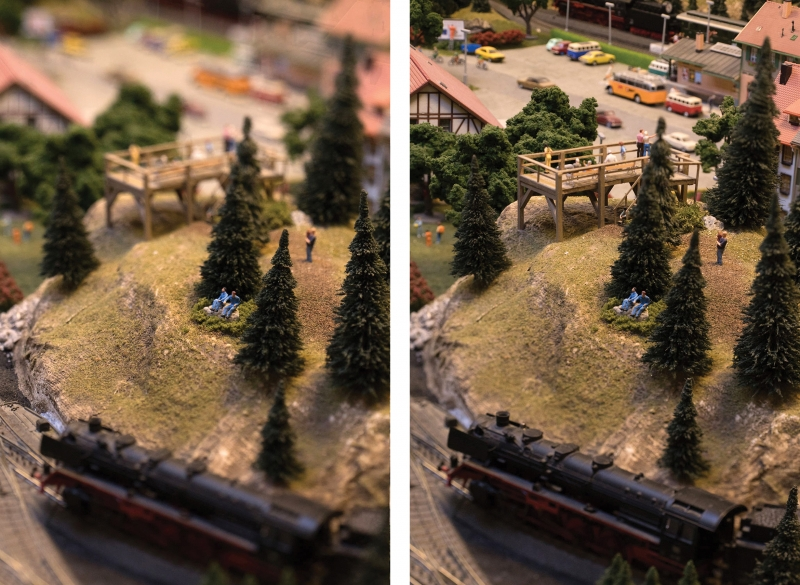 Photographing a miniature model train layout was a great testing ground for the lens. I used the tilt feature to minimize the depth of field in one capture (above left) and maximize it in another (right).