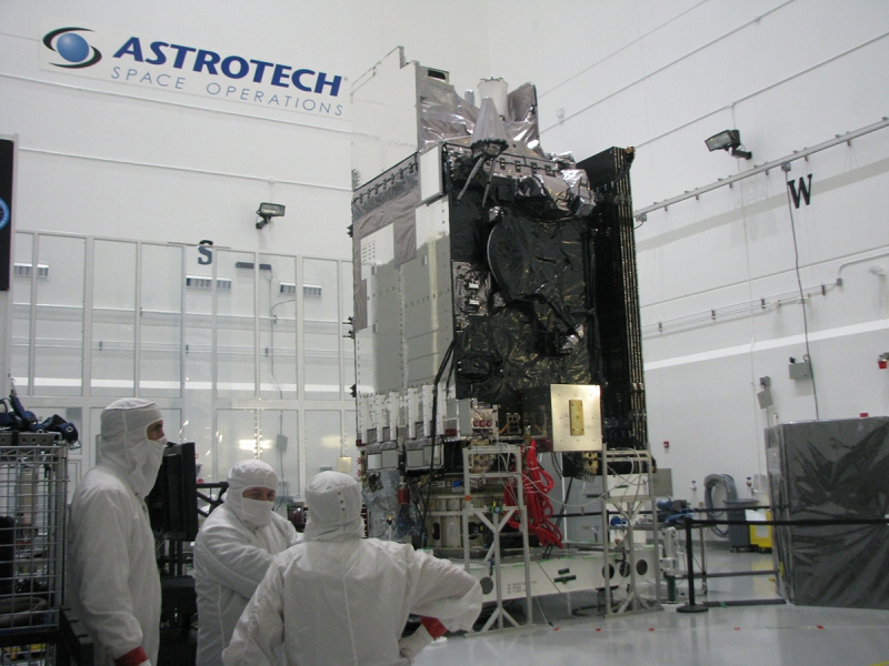 The full GOES-S satellite in the clean room