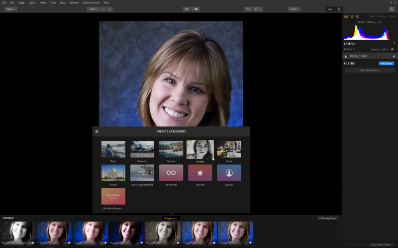 Seven presets, including Portrait, are built into Luminar to get you started.