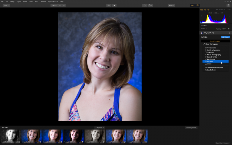 Luminar provides eight workspaces populated with the filters generally needed for the work for which they are named.