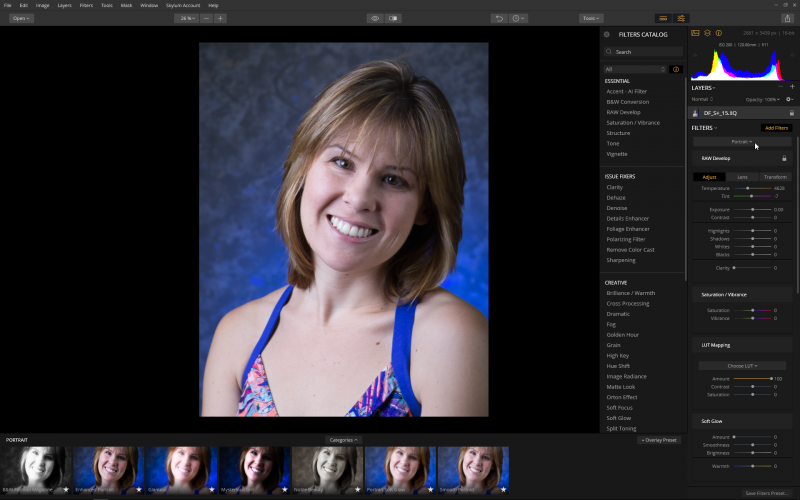 For raw format files, the Portrait workspace begins with the RAW Develop options, with other options available below.