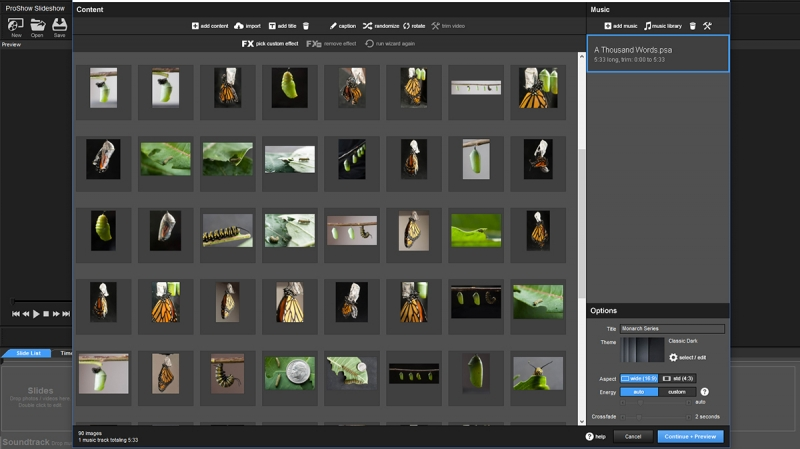 The ProShow 9 wizard makes an output-ready slideshow in minutes.
