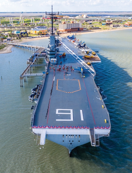 The 20-megapixel sensor on the Mavic 2 Pro gives aerial photographers more creative cropping options, including vertical crops like this photo of the USS Lexington anchored at Corpus Christi, Texas.