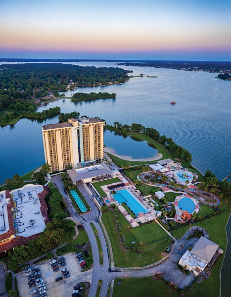 This is a vertical panoramic shot of the La Torretta Lake Resort & Spa off Lake Conroe northwest of Houston.