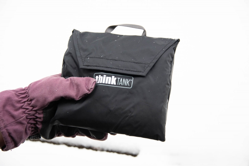 The Emergency Rain Cover packs down and stows away its carry case, which has a label showing which size cover it's for that's handy if you have more than one.