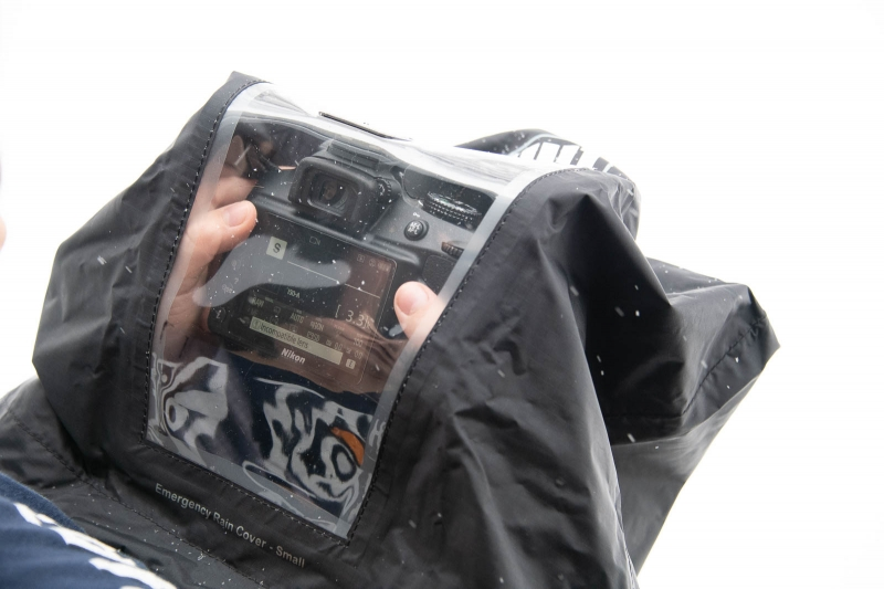 You can see your camera's controls and display through the clear panel in the cover.