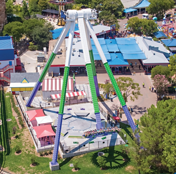 This aerial image of the Joker Carnival of Chaos ride at Six Flags Fiesta Texas was possible because of the DJI Smart Controller's ability to function in 105 degree heat.