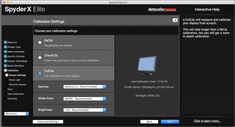 The first time you calibrate a monitor you must run the full calibration mode. This takes less than two minutes.